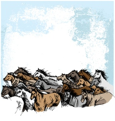 Sketch of white horse running vector image vector image