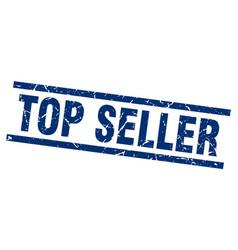 square grunge blue top seller stamp vector image vector image