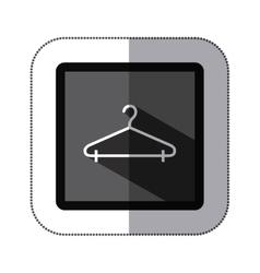 Sticker monochrome square with hook closet shirt vector