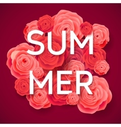 Summer pink roses on dark background vector
