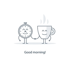 Tea time morning cup of coffee vector