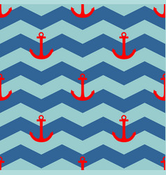 Tile sailor pattern with red anchor on white strip vector