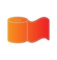 Toilet paper sign orange applique isolated vector