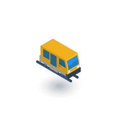 Train tram rails transport isometric flat icon vector