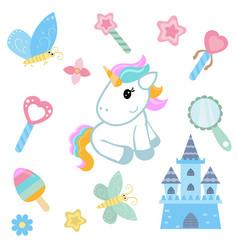 Unicorn with magic design elements unicorn with vector