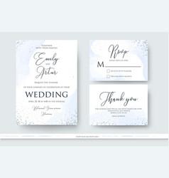 Wedding invite thank you rsvp card design set vector