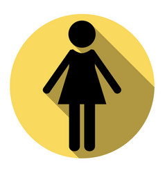 Woman sign flat black icon vector