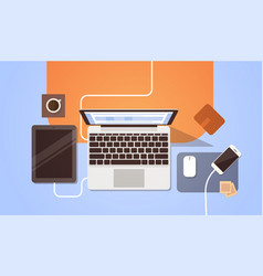 Workplace desk top angle view laptop and tablet vector