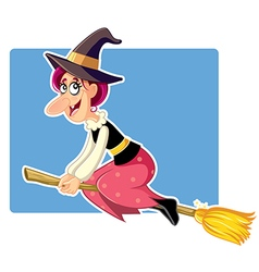 Funny halloween witch on a broomstick vector