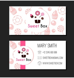 Sweet box donuts business card label vector