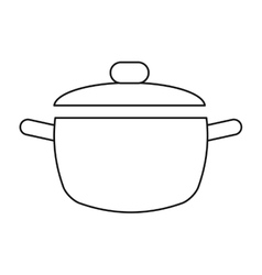 Cooking pot kitchen food outline vector