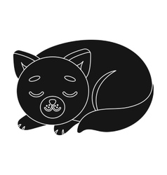 Sleeping cat icon in black style isolated on white vector image