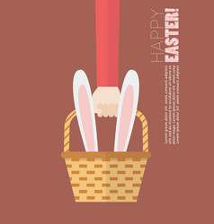 Hand holding wicker basket with bunny ears vector