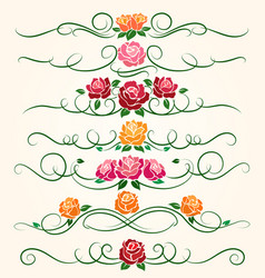 decorative flourish rose flower dividers vector image