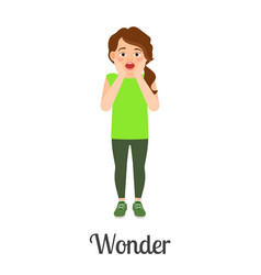 Cartoon little girl wonder feeling vector