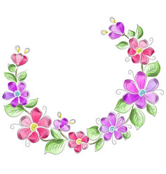 Wreath of flowers in watercolor style vector