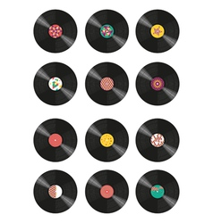 Collection of vinyl records vector