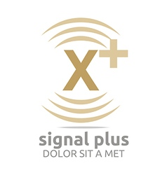 Logo signal letter x plus brown alphabet wireless vector