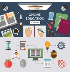 Online education flat concept background banner vector