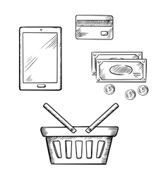 Shopping icons with tablet money and credit card vector