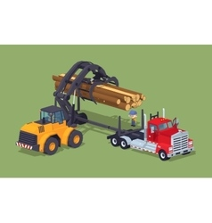 Logs loading on truck vector image