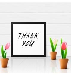 Thank you with tulip flowers vector