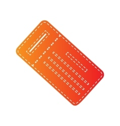 Ticket simple sign orange applique isolated vector