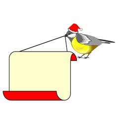A christmas bird titmouse with a big blank paper vector