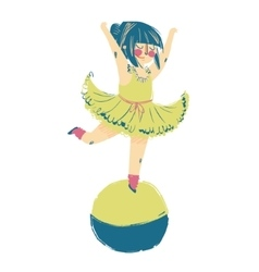 A circus performer standing on top vector