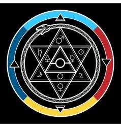 Alchemy hexagon in a circle vector