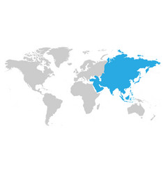 asia continent blue marked in grey silhouette of vector image