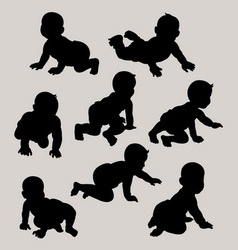 Baby crawling silhouette vector