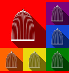 Bird cage sign set of icons with flat vector