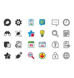 Birds icons social media speech bubble vector