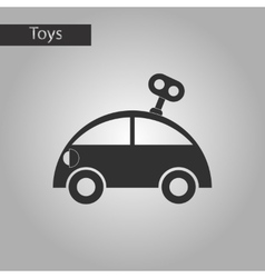 Black and white style toy car with key vector