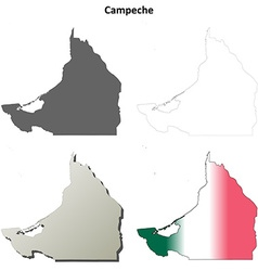 Campeche blank outline map set vector image vector image