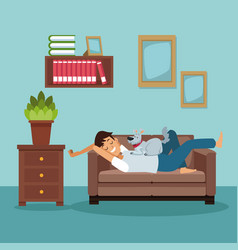 Colorful scene man sleep in sofa with dog pet vector