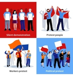 Demonstration protest people 2x2 icons set vector