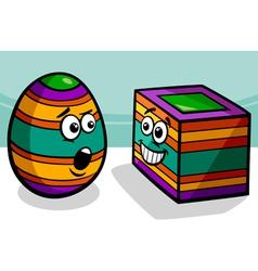 Easter square egg cartoon vector