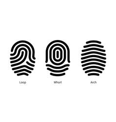 Fingerprint id types on white background vector
