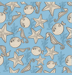 Hand drawn seafood sketch seamless vector