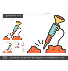 jackhammer line icon vector image