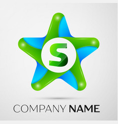 Letter s logo symbol in the colorful star on grey vector