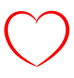 Red heart drawn with a brush vector