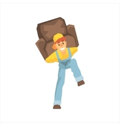 Smiling strong worker carrying an armchair on his vector