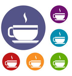 Tea cup and saucer icons set vector