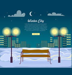 winter city web banner urban town at night vector image