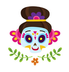 with colorful skulls for day vector image