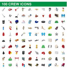 100 crew icons set cartoon style vector