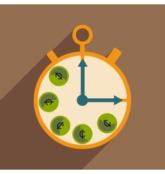 Flat with shadow icon Stopwatch and coins vector image